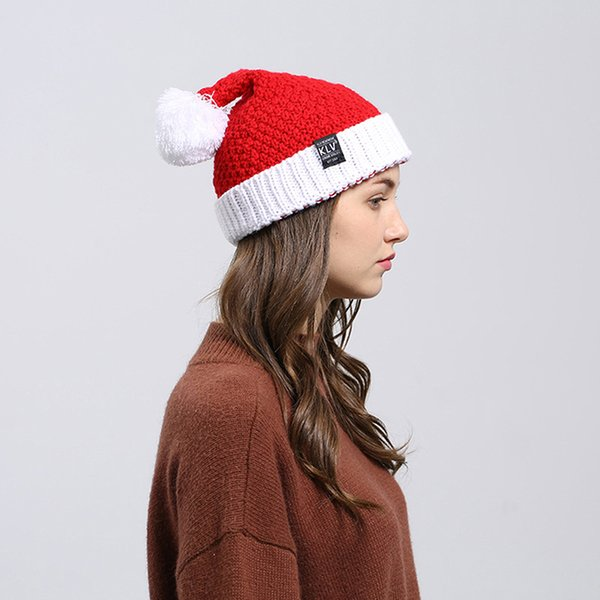 1pc Unisex Knit Stretchy Beanie Winter Warm Hat Christmas Santa Cap Merry Christmas Hats Soft Knitted Hats