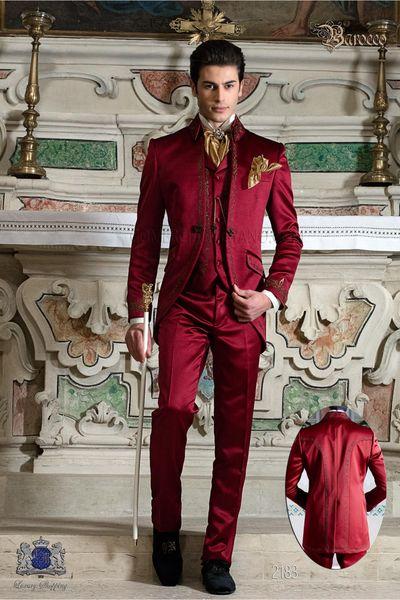 Deep Red Long Pattern Embroider Groomsmen Mandarin Lapel Groom Tuxedos Men Suits Wedding/Prom/Dinner Best Man Blazer(Jacket+Pants+Tie+Vest)