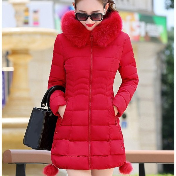 New Arrival Women Cotton Padded Warm Coats Autumn Winter Long Sleeve Winter Jackets Casual Fur Collar Pockets Solid Parkas