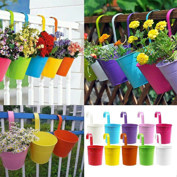 10 Colors Fashion Colorful Macetas Vertical Garden Planters Metal Flower Pots Hang Bucket Hanging Wall Pot De Fleur Home Decor