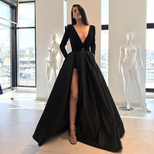 Compre Vestidos De Noche Negros 2018 A Line Manga Larga Con Cuello En V Lado Alto Lado Dividido Longitud Del Piso Fiesta De Baile Vestidos Formales De