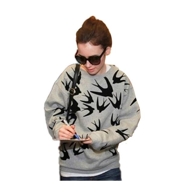 Donne marchio di stelle Felpe Europa Russia Autunno Inverno nuova marea moda stampa Felpa con cappuccio grigio cotone Swallows 3D stampa Pullover con cappuccio