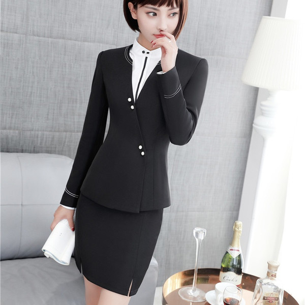 Formal OL Styles Skirt Suits With Jackets For Women Business Office Work Wear Blazers & Jackets Sets Uniforms Fall Winter Black
