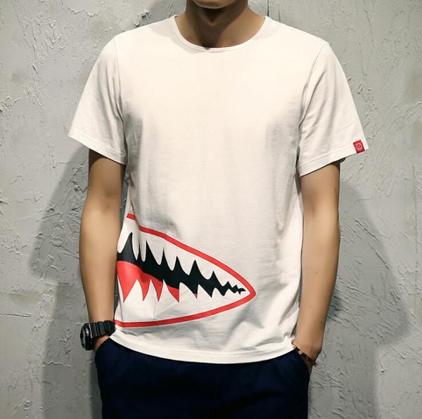 Лето дизайнер футболки для мужчин топы рот шаблон Мужская одежда с коротким рукавом футболки мужские топы Уличная мода прилив