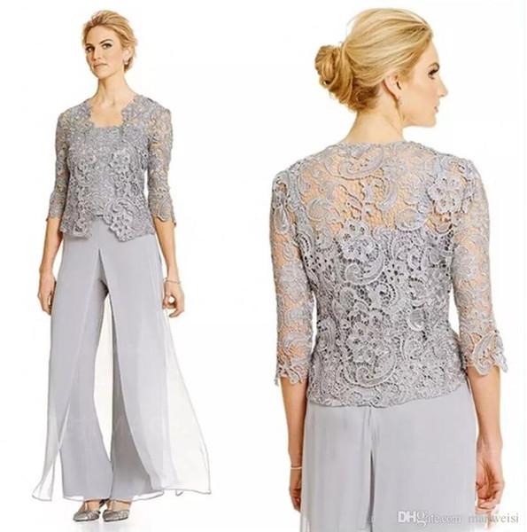 Üç Adet Anne Gelin Pantolon Takım Elbise Artı Boyutu Ile Gelin Elbiseler Taraklı Anneler Suit Dantel Ceket Anne Gelin Suits