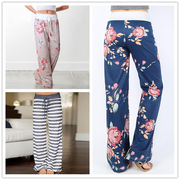 Plus Size Women Floral Print Yoga Palazzo Trousers Pants 32 Style Wide leg Trousers Ties Design Loose Sport Harem Pant High Waist Boho Pant