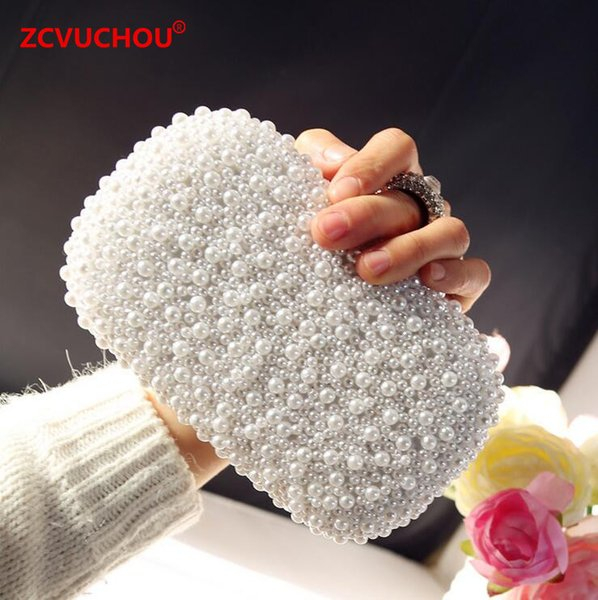 Hand made Luxury Pearl Clutch bags Women Finger Ring Handbag Purse Diamond Chain white Evening Bags for Party Wedding Bolsa Fem