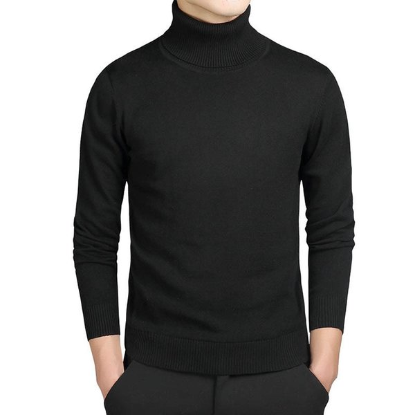 Turtleneck Cotton Sweater Men Pullovers Brand Casual Autumn Fashion Sweater Male Solid Slim Fit Knitted Long Sleeve Blue Black