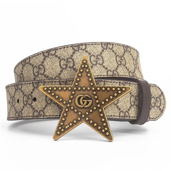 Unique five-pointed star men leather belt with smooth buckle fashionable leisure belt comfortable to wear free of shipping