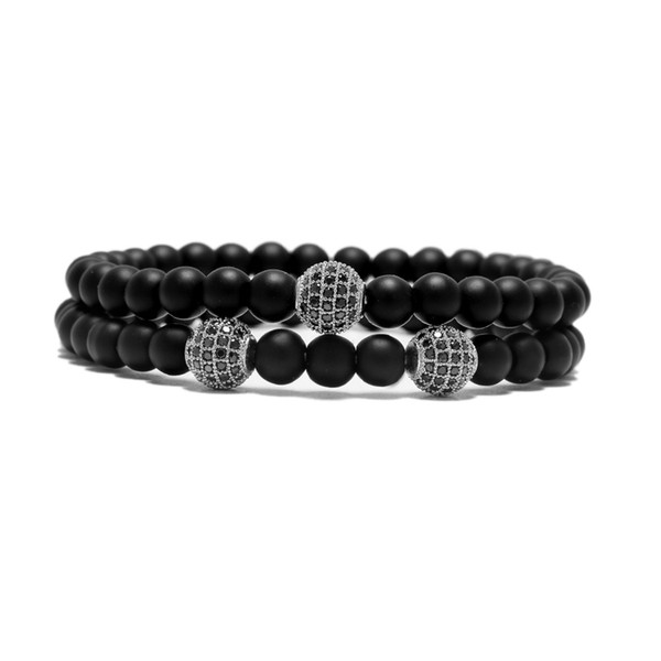 Black Natural Stone 2pcs/set Beads Bracelet sets Fashion Shambala Charm Yoga Strand Chain For Men Cool Biker Hand Jewelry Pulsera