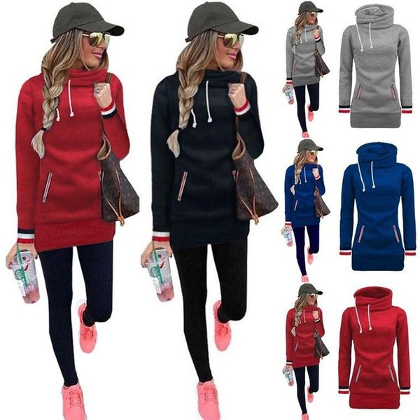 Turtle Neck New Women Sweatshirts Solid Color Hooded Jacket Long Sleeve Women's Hoodie Drawstring Fall Winter Women Coat Pocket Pullove