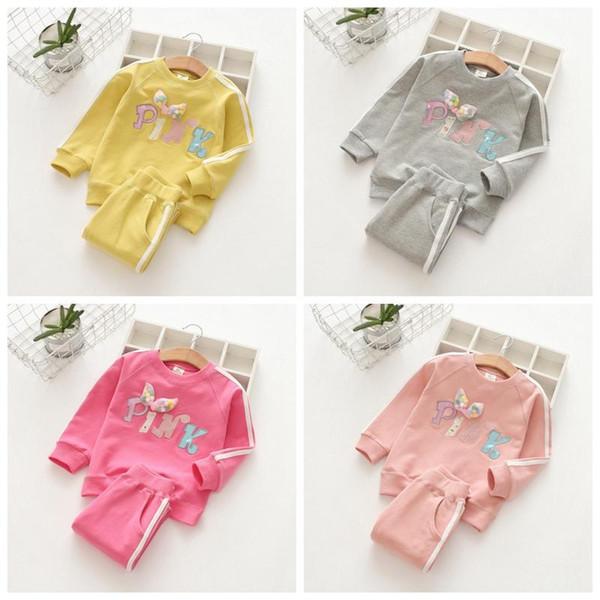 PINK children's clothing Outfit Pink Letter print suit long Sleeve Pants 2PCS Set Pink Sport kids Spring Autumn clothing Sets 10sets