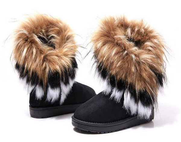 best selling free shipping 2018 Fashion Rabbit hair and Fox Fur In tube Color matching warm snow winter boots for women & ladies Winter Ankle boots.