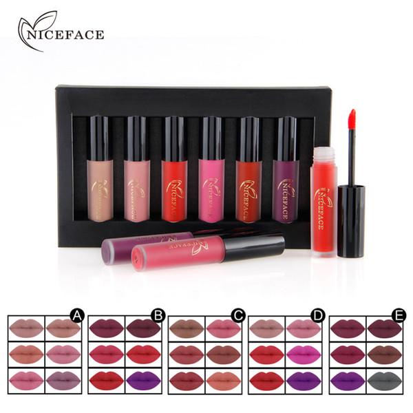 Wholesale-NICEFACE Brand 6pcs/set Matte Lipgloss Makeup Liquid Nude Lipstick Moisture Waterproof Long Lasting Lip Gloss Stick Cosmetics