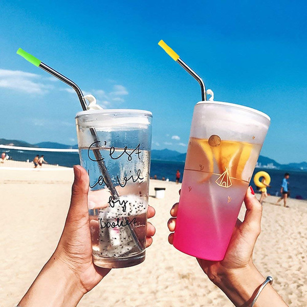 21.5cm Stainless Steel Straight and Bend Drinking Straws Reusable Drinking Straws for Tumblers with Soft Silicon Tips for Bar Drinks Party