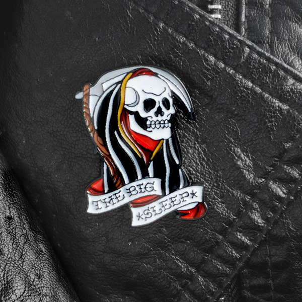 The big sleep cloak skull skeleton pins Lapel pins Brooches Badges Backpack Bag Hats Accessories For men women Punk