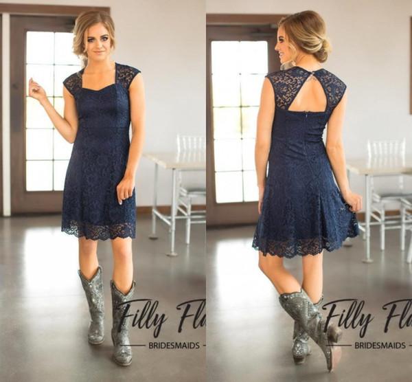 2018 curto azul marinho lace dama de honra vestidos de mangas tampadas na altura do joelho maid of honor vestidos baratos país dama de honra dress ba6596 bm0179