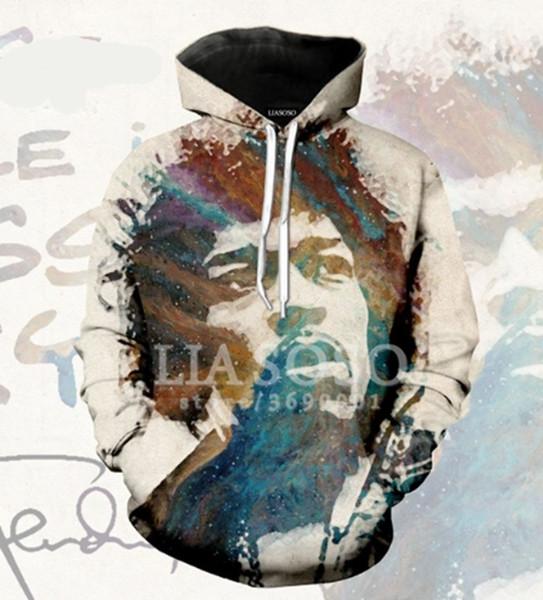 Guitarrista Elétrico Jimi Hendrix 3D Impresso Pullover Hoodies / Moletons com capuz para Mulheres / homens H08