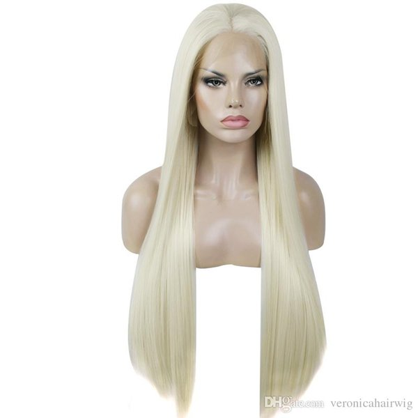 Hot Platinum Blonde 60# Long Straight High Temperature Fiber Heat Resistant Glueless 150% Density Synthetic Front Lace Wig For White Women