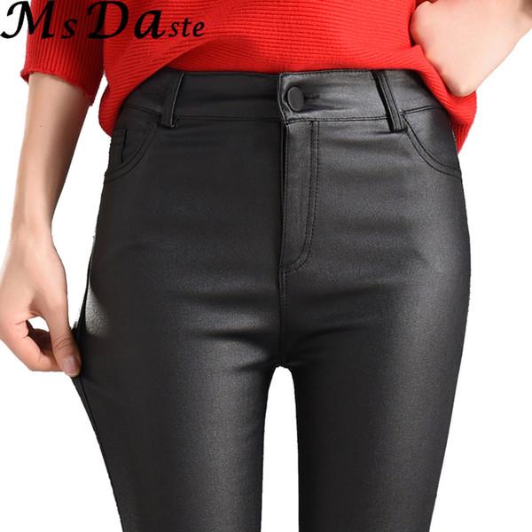 2018 mujeres del invierno pantalones de cuero de imitación Capris PU pantalones elásticos de cintura alta elástico delgado lápiz pantalones polainas mujer negro