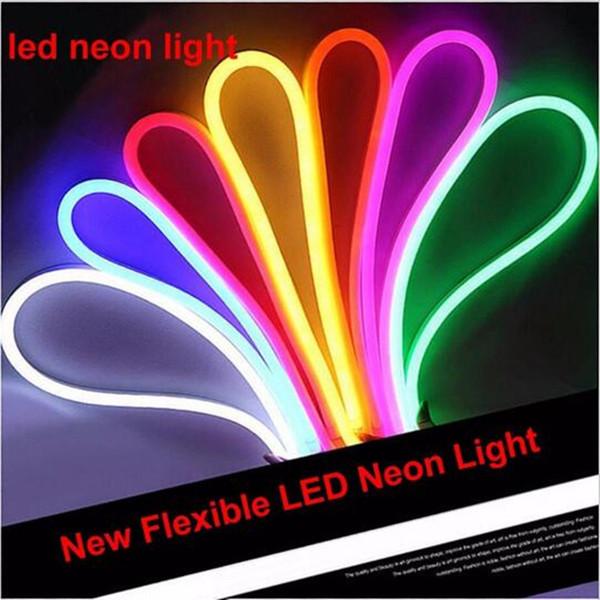 Светодиодные неоновые вывески гибкие полосы света AC 220 В 240 в SMD 2835 LED Neon flex tube 120 LED IP68 Водонепроницаемый веревку строка лампа 1 м