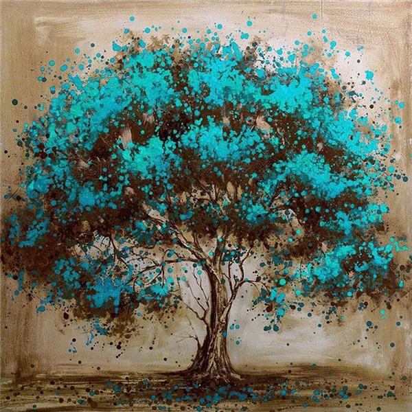 top popular Diamond embroidery landscape blue tree diy diamond painting cross stitch kit resin full round diamond mosaic home decoration yx4015 2019