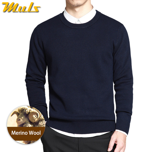 Dropshipping Sweater Men Pullover Merino Wool O Neck Men Sweater Jumper Spring Autumn Winter Warm Woolen Male knitwear Navy 3XL
