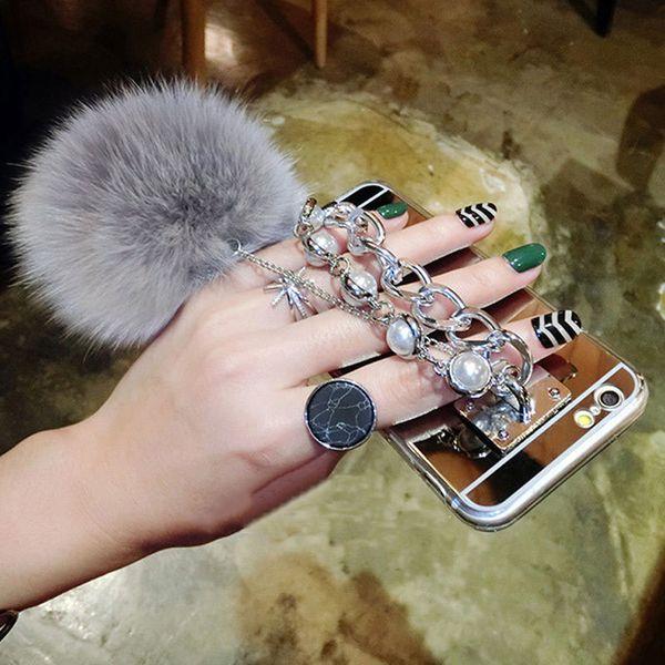 For Samsung S9 S8 S7 S6 Edge Plus S5 S4 Note 8 5 A3 A5 A7 A8 J3 J5 J7 2015 2016 2017 2018 Metal Pearl Bracelets Fox Fur Ball Mirror Case
