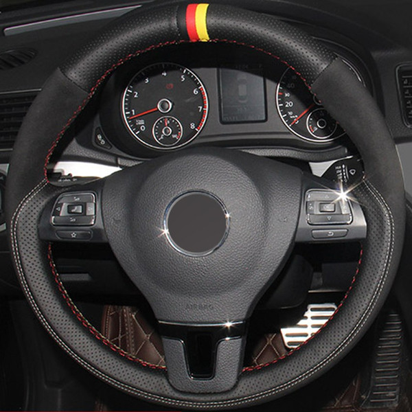 Negro genuino Leathe Suede cubierta del volante del coche para Volkswagen VW Gol Tiguan Passat B7 Passat CC Touran Jetta Mk6