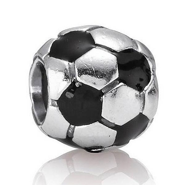 Authentic 925 Sterling Silver Bead Charm Black Enamel Football Beads Fit Women lady Bracelet Bangle DIY Jewelry