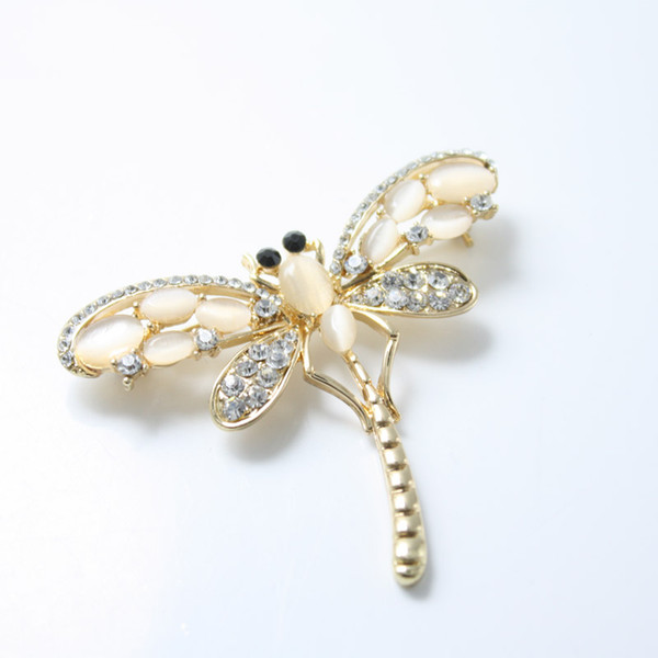 Opal Crystal Dragonfly Brooches for Women Gold Color Rhinestone Lapel Pin Scarf Brooch Broche Christmas Gifts Top Quality