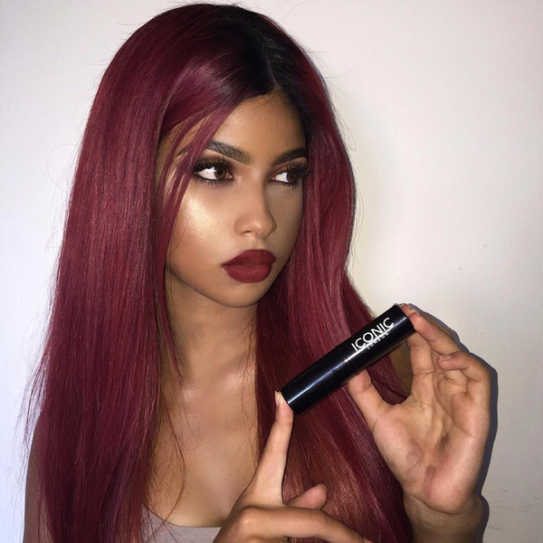 Ombre 1BT99J Full Lace Wig Brazilian Virgin Hair Silky Straight Lace Front Human Hair Wig Red With Dark Roots For Women