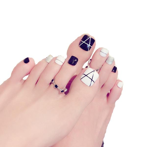 24 Pcs/Set Foot False Nail Tips Glitter Geometry Printing Fake Toes Nails Black And White Toenail Patch Nail Art Press On Nails