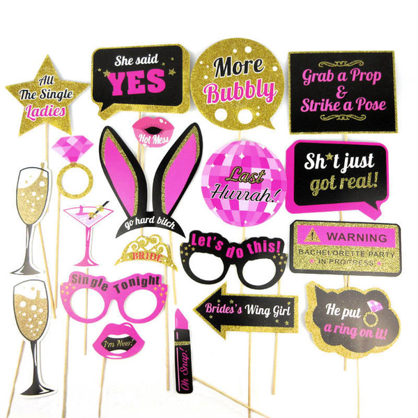 20 Styles Wedding Decoration Photo Booth Prop Team Bride To Be Photobooth Bridal Shower Hen Bachelorette Party Supplies