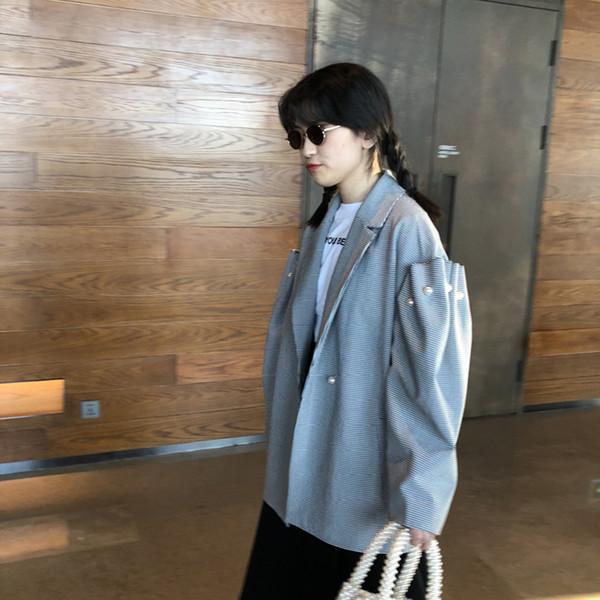 [QLZW] 2018 Sring Été Nouvelle Mode Treillis Imitation Perle Décoratif À Manches Longues Blazer Femmes Unique Jcacket YC58302