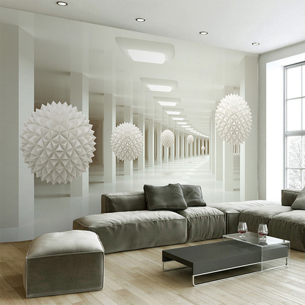 Modern Simple 3D Stereo Abstract Space White Sphere Mural Wallpaper Office Living Room TV Sofa Backdrop Wall Decor Wallpaper 3 D