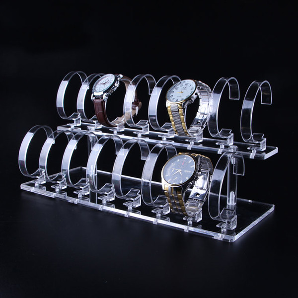 Multi Watch Display Stand Clear Acrylic with Elastic C Ring Clip Boutique Counter Showcase Kiosk Wrist Watches Organizer Exhibition Prop