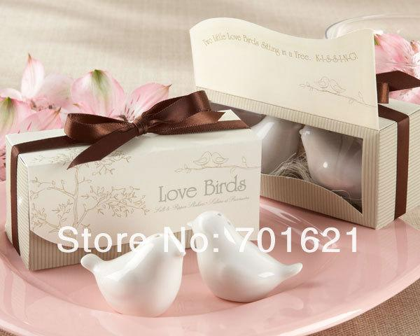 """Wholesale- Free shipping 100pcs=50 sets Love Birds in the Window"""" Salt & Pepper Ceramic Shakers hot sell Wedding Favors party gift"""