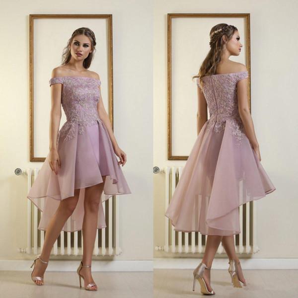 Nuovi vestiti di ritorno a casa a corto basso con pizzo Applique Zipper Back Bateau Neck Maid of Honor Prom Dresses