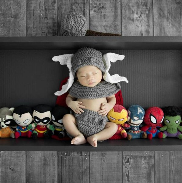 Baby Boy Cartoon Props de fotos Nuevo estilo Baby Crochet Props de fotografía Newborn Coming Home Outfits 1 set