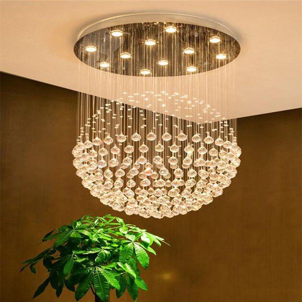 Modern K9 Crystal Chandelier Square & Balls Shaped Crystal Chandelier LED Lighting Luxury Villa Duplex Stairs Light