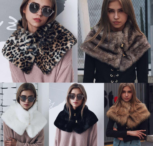 5 estilos Faux Fur Collar Cachecóis Mulheres de Inverno de Metal Artificial de Pele Cape Poncho Elegante Fluffly Quente Cachecóis De Pele Pescoço Warmer Pashmina FFA874