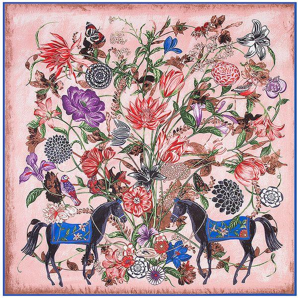 meilleure qualité pour 50-70% de réduction sortie en vente France Joker Square Silk Women Floral Horse Print Scarf Handmade Luxury  Design Foulard Femme Echarpe Large Twill Scarves Dropshipping Scarve Black  ...