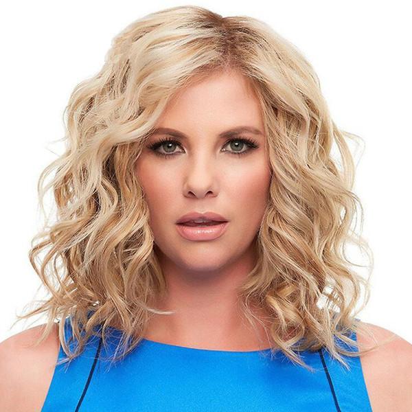 Großhandel Damen Perücke Licht Gold Kurze Lockige Haare Kleine Lockige Synthetische Perücken Frauen Tiefe Welle Kleine Locken Haarteile Haar Perücken
