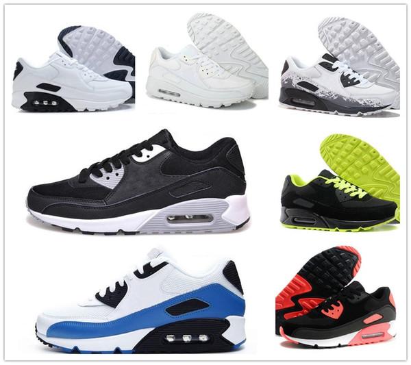Großhandel Nike Air Max 90 Airmax 90 Herren Sneakers Schuhe Klassisch 90 Männer Und Frauen Laufschuhe Schwarz Rot Weiß Sport Trainer Kissen Oberfläche
