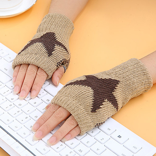 400PAIRS / LOT Women's Gloves Fashion Star Pattern Hand Warmer Crochet Knitting Warm Winter Wrist Mitten Driving Gloves