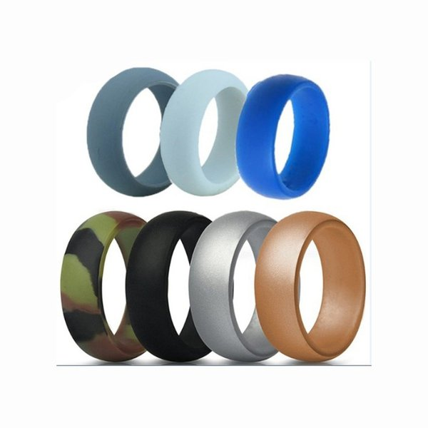 7pcs/set 6-12 Size Hypoallergenic Crossfit Flexible 8mm Food Grade FDA Silicone Finger Ring For Men Women Wedding Jewelry Gift