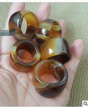Natural three-color agate ring men and women pull finger couple ring jade ring