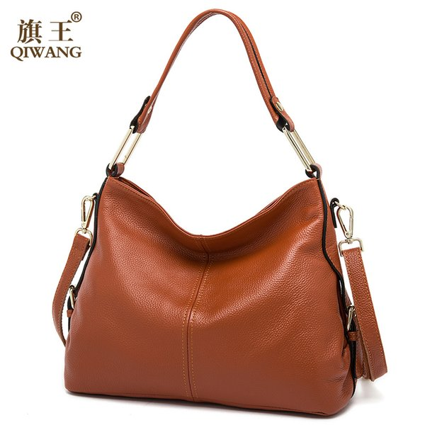 5db705e1b6330 QIWANG 100% Echtes Leder Tasche Markendesigner Rindsleder Handtaschen Neue  HOBO Geldbörse Fasion Dame Rosa Handtasche