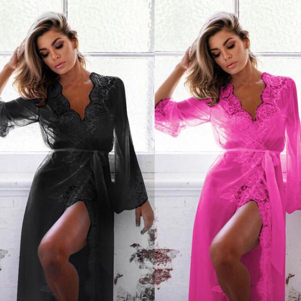 Women Lingerie Babydoll Sleepwear Underwear Lace Coat Nightwear +G-string sleep wear for women